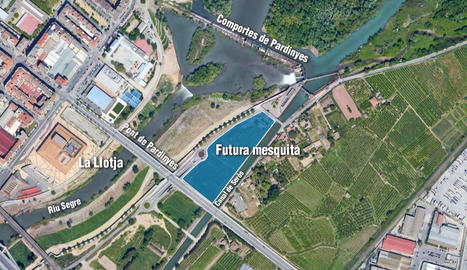 Mapa de la ubicació de la nova mesquita de Lleida