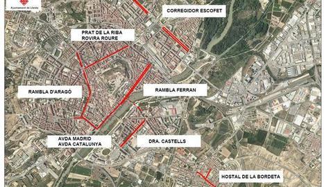 Talls a la ciutat de Lleida pel Dia sense Cotxes