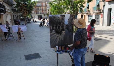Participants en el concurs de pintura ràpida de Mollerussa.