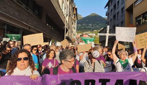 Vista de la manifestació ahir a Andorra la Vella.