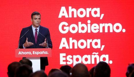 El líder dels socialistes, Pedro Sánchez, ahir a la presentació del lema del PSOE per al 10-N.