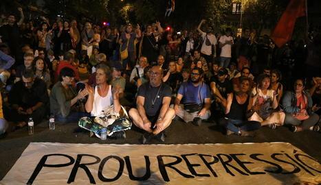 La protesta dels CDR aquest dimarts a Girona.