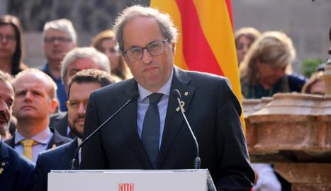 El president de la Generalitat, Quim Torra, aquest dimarts al pati dels Tarongers del Palau de la Generalitat.