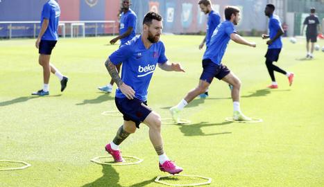 Messi, durant l'entrenament.