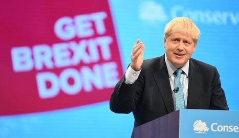 Johnson, durant la seua intervenció ahir en la clausura del congrés del partit a Manchester.