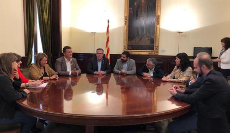 Una imatge de la reunió a la Diputació de Lleida.