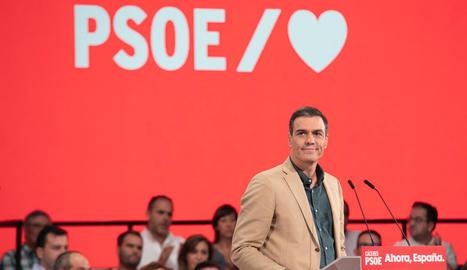 El president del Govern central en funcions, Pedro Sánchez, ahir, en un acte de partit.