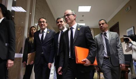 Turull, acompanyat per Rull i Sànchez, el mes de maig passat al Congrés dels Diputats.