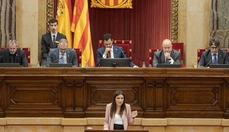 La líder de Cs a Catalunya, Lorena Roldán, durant una de les seues intervencions aquest dilluns al Parlament.