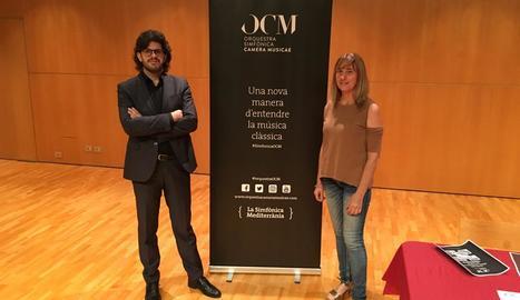Tomàs Grau, ahir amb la directora de l'Auditori, Puri Terrado.