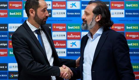 Pablo Machín i el director esportiu de l'Espanyol, Rufete.
