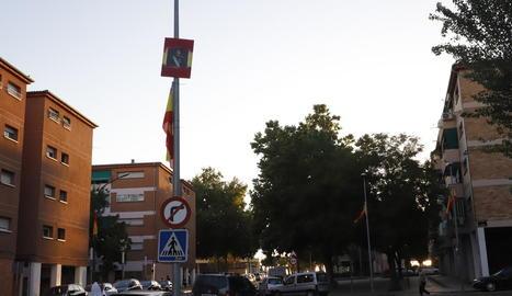 Fanals del barri de la Mariola de Lleida mostraven ahir banderes espanyoles i fotos de Felip VI.