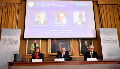 Imatge de l'anunci dels guanyadors del Nobel de Química.