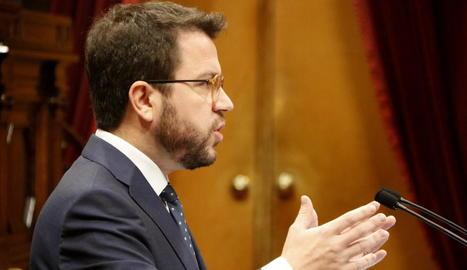 El vicepresident de la Generalitat, Pere Aragonès, ahir, en una intervenció al Parlament.