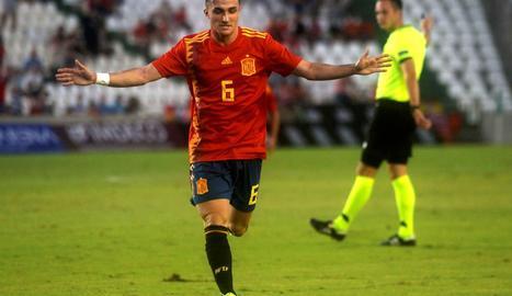 Manu García celebra el seu gol amb la sub-21 contra Alemanya.
