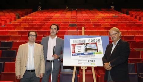 L'acte de presentació del cupó de l'ONCE dedicat al Teatre de la Llotja de Lleida.