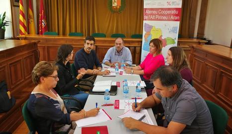 La reunió de tècnics ahir a l'ajuntament de Vielha.