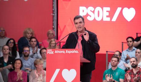 Sánchez, ahir, durant un acte de partit a Alcorcón.