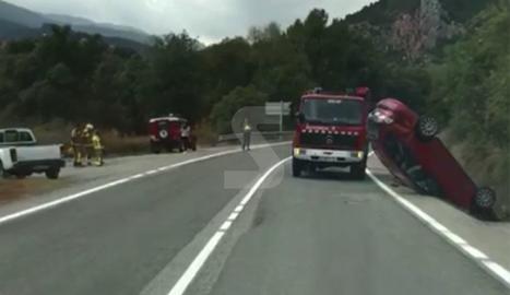 Espectacular accident a Coll de Nargó