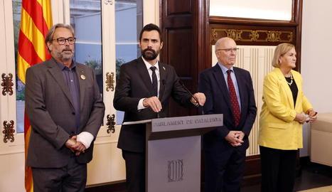 Benach, Torrent, Rigol i De Gispert, ahir, al Parlament.
