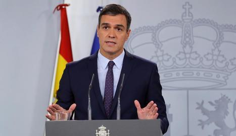El president del Govern en funcions, Pedro Sánchez, ahir durant la compareixença.