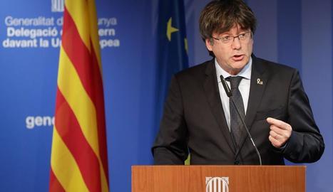 Puigdemont va comparèixer a la delegació del Govern a Brussel·les.