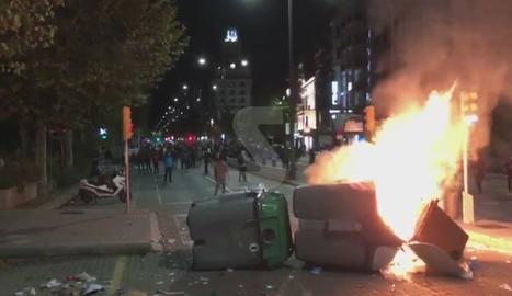 Barricada a l'avinguda Blondel de Lleida