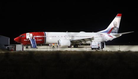 Imatge de l'avió de Norwegian que va aterrar ahir a l'aeroport d'Alguaire.