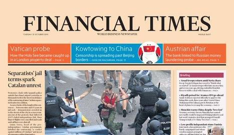 Portada de l'edició internacional del 'Financial Times' de dimarts.