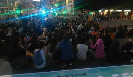 Concentració a Lleida per exigir la posada en llibertat del detingut durant les protestes