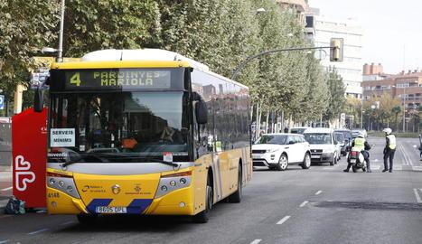 Els autobusos de Lleida van oferir ahir serveis mínims.