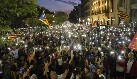 Manifestación de la huelga del 18-O en Lleida