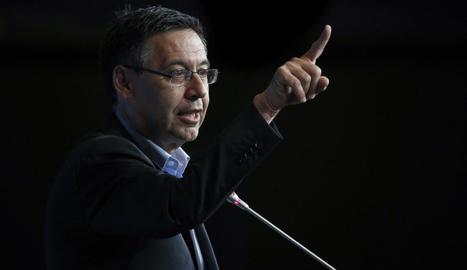 Josep Maria Bartomeu, durant la seua al·locució d'ahir.