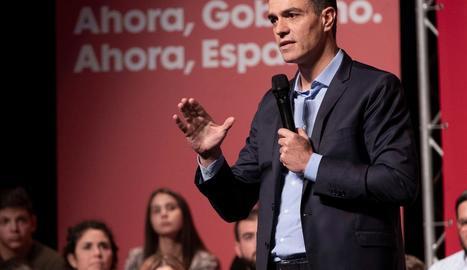 El president del Govern, Pedro Sánchez, durant l'acte electoral d'ahir a Huelva.