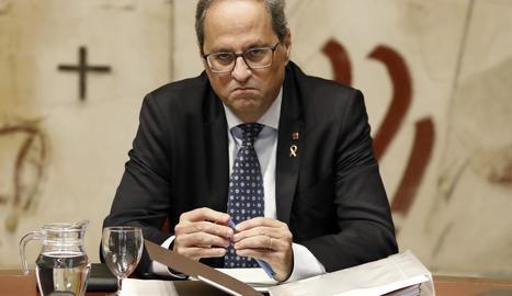 El president de la Generalitat Quim Torra durant el Consell Executiu, ahir.