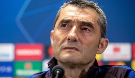 Ernesto Valverde, ahir a la compareixença davant els mitjans.