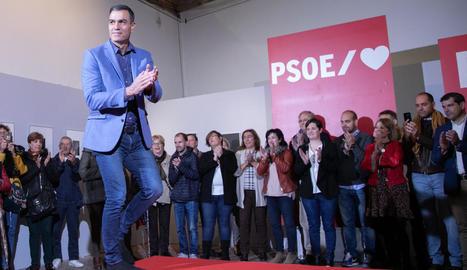 El president del Govern central en funcions, Pedro Sánchez, ahir, en un acte del PSOE a Segòvia.