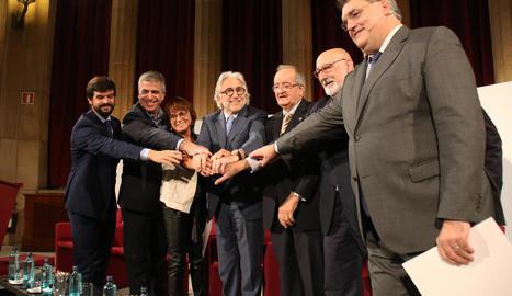 Acte de Foment i Pimec per exigir diàleg, ahir, a Barcelona.