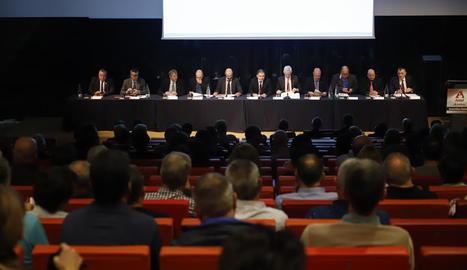 Assemblea general ordinària d'Actel, ahir, a la Llotja de Lleida.