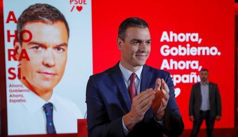 Sánchez va presentar la campanya del PSOE per a les eleccions.