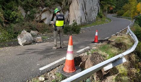 Imatge del despreniment d'ahir a Conca de Dalt.