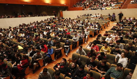 Assistents ahir a la representació 'Canvi de marxa', a l'Auditori de Lleida.