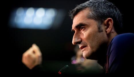 Ernesto Valverde ahir durant la compareixença davant els mitjans.