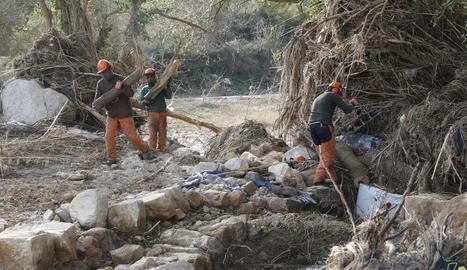 Imatge dels operaris mentre treballaven ahir per retirar obstacles en el curs del riu Gorg a l'Albi.