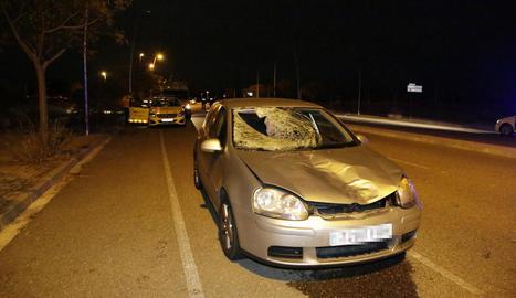 Estat del vehicle després de l'atropellament de dilluns.