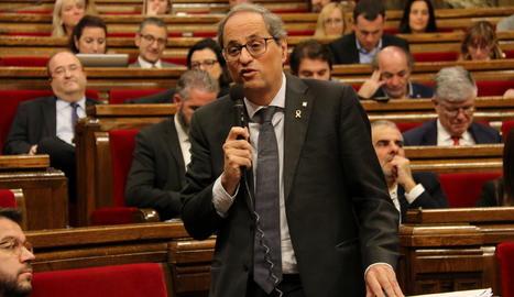 El president del Govern, Quim Torra, en una de les seues intervencions a la sessió del control al Parlament.