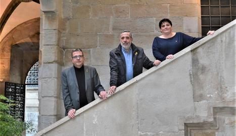 Ardanuy, a l'IEI amb el president de la Diputació, Joan Talarn, i la vicepresidenta, Estefania Rufach.
