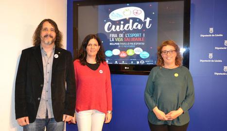 Jordi Estiarte, Mercè Carulla i Inés Granollers, ahir a la Diputació.