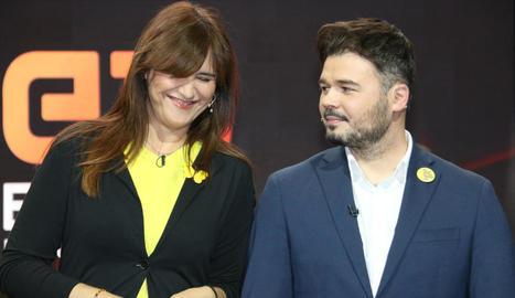 Imatge d'arxiu de Laura Borràs i Gabriel Rufián.