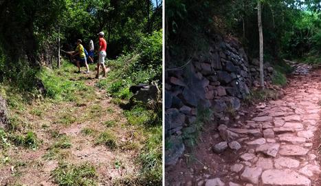 El camí de la Serra de Freixa, abans i després dels camps de treball.